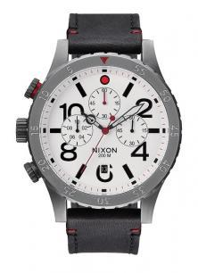 Karóra Nixon 48-20 Chrono Leather Gunmetal/White A363 486
