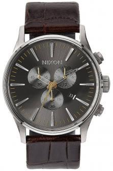 Karóra Nixon Sentry Chrono Leather Brown Gator A405 1887