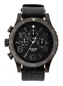 Karóra NIxon 48-20 Chrono Leather Black Gator A363 1886