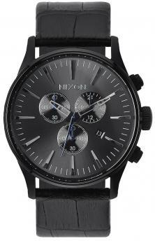 Karóra Nixon Sentry Chrono Leather Black Gator A405 1886